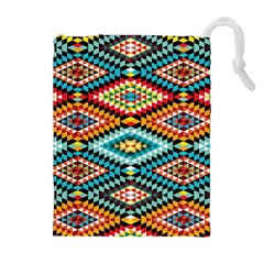 African Tribal Patterns Drawstring Pouches (extra Large)