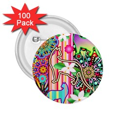 Mandalas, Cats and Flowers Fantasy Digital Patchwork 2.25  Buttons (100 pack)