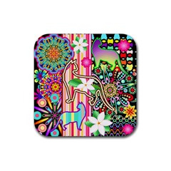Mandalas, Cats and Flowers Fantasy Digital Patchwork Rubber Coaster (Square)
