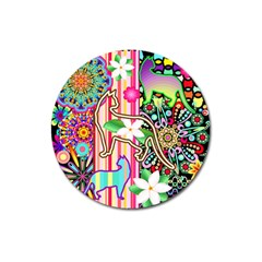 Mandalas, Cats and Flowers Fantasy Digital Patchwork Magnet 3  (Round)