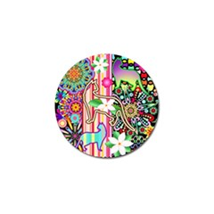 Mandalas, Cats and Flowers Fantasy Digital Patchwork Golf Ball Marker (10 pack)