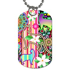 Mandalas, Cats and Flowers Fantasy Digital Patchwork Dog Tag (Two Sides)
