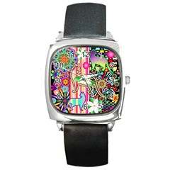 Mandalas, Cats and Flowers Fantasy Digital Patchwork Square Metal Watch