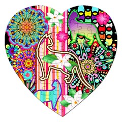 Mandalas, Cats and Flowers Fantasy Digital Patchwork Jigsaw Puzzle (Heart)