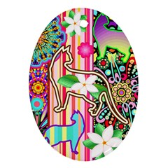 Mandalas, Cats and Flowers Fantasy Digital Patchwork Oval Ornament (Two Sides)