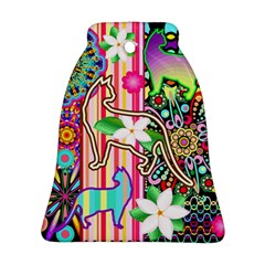Mandalas, Cats and Flowers Fantasy Digital Patchwork Bell Ornament (Two Sides)