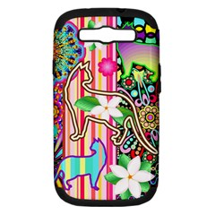 Mandalas, Cats and Flowers Fantasy Digital Patchwork Samsung Galaxy S III Hardshell Case (PC+Silicone)