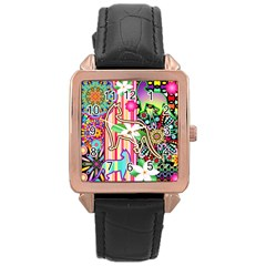 Mandalas, Cats and Flowers Fantasy Digital Patchwork Rose Gold Leather Watch