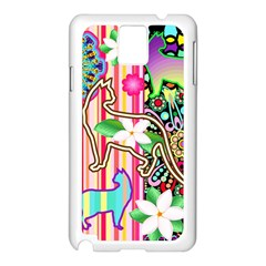Mandalas, Cats and Flowers Fantasy Digital Patchwork Samsung Galaxy Note 3 N9005 Case (White)