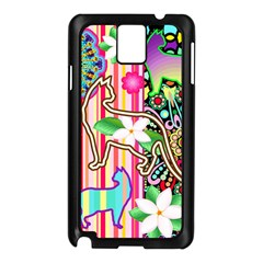 Mandalas, Cats and Flowers Fantasy Digital Patchwork Samsung Galaxy Note 3 N9005 Case (Black)