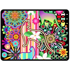Mandalas, Cats and Flowers Fantasy Digital Patchwork Double Sided Fleece Blanket (Large)