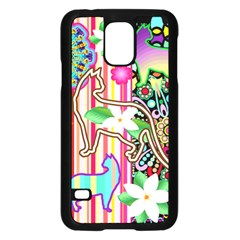 Mandalas, Cats and Flowers Fantasy Digital Patchwork Samsung Galaxy S5 Case (Black)