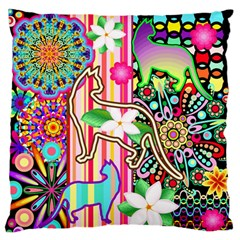 Mandalas, Cats and Flowers Fantasy Digital Patchwork Standard Flano Cushion Case (One Side)