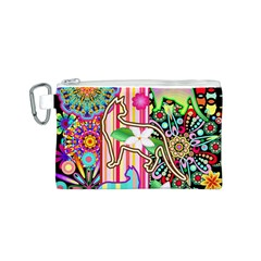 Mandalas, Cats and Flowers Fantasy Digital Patchwork Canvas Cosmetic Bag (S)