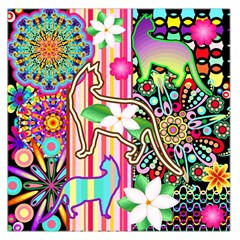 Mandalas, Cats and Flowers Fantasy Digital Patchwork Large Satin Scarf (Square)