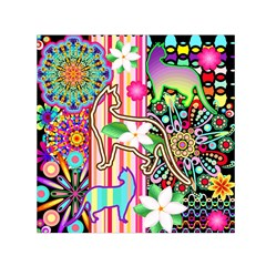 Mandalas, Cats and Flowers Fantasy Digital Patchwork Small Satin Scarf (Square)