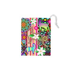 Mandalas, Cats and Flowers Fantasy Digital Patchwork Drawstring Pouches (XS)