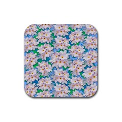 Plumeria Bouquet Exotic Summer Pattern  Rubber Square Coaster (4 pack)
