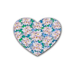 Plumeria Bouquet Exotic Summer Pattern  Heart Coaster (4 pack)