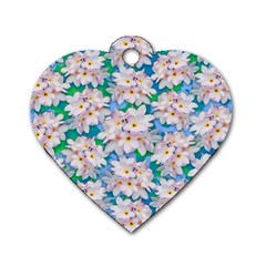 Plumeria Bouquet Exotic Summer Pattern  Dog Tag Heart (One Side)