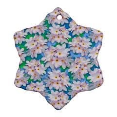 Plumeria Bouquet Exotic Summer Pattern  Snowflake Ornament (Two Sides)