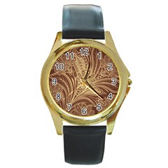 Beautiful Patterns Vector Round Gold Metal Watch