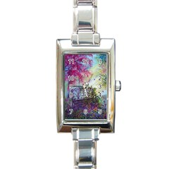 Bench In Spring Forest Rectangle Italian Charm Watch