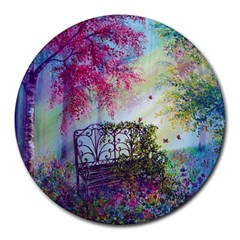 Bench In Spring Forest Round Mousepads