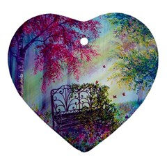 Bench In Spring Forest Ornament (heart)