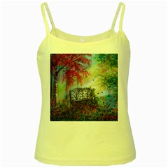 Bench In Spring Forest Yellow Spaghetti Tank