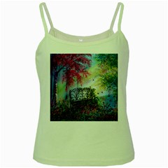 Bench In Spring Forest Green Spaghetti Tank