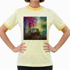 Bench In Spring Forest Women s Fitted Ringer T Shirts