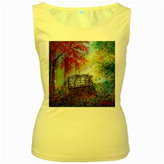 Bench In Spring Forest Women s Yellow Tank Top