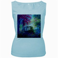 Bench In Spring Forest Women s Baby Blue Tank Top