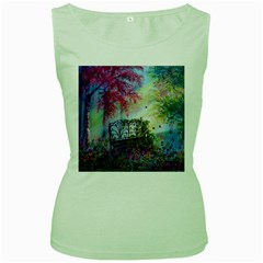 Bench In Spring Forest Women s Green Tank Top