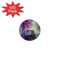 Bench In Spring Forest 1  Mini Buttons (100 Pack)