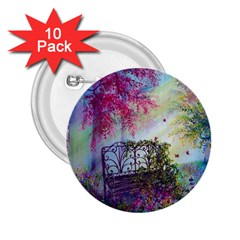 Bench In Spring Forest 2 25  Buttons (10 Pack)