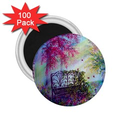 Bench In Spring Forest 2 25  Magnets (100 Pack)