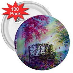 Bench In Spring Forest 3  Buttons (100 Pack)