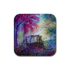 Bench In Spring Forest Rubber Square Coaster (4 Pack)