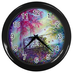 Bench In Spring Forest Wall Clocks (Black)
