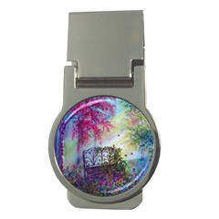 Bench In Spring Forest Money Clips (round)