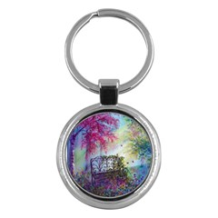 Bench In Spring Forest Key Chains (round)