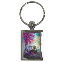 Bench In Spring Forest Key Chains (rectangle)