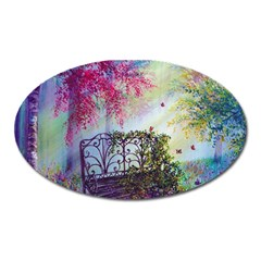 Bench In Spring Forest Oval Magnet