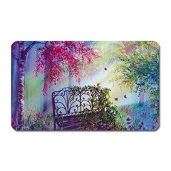 Bench In Spring Forest Magnet (Rectangular)