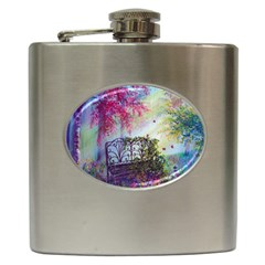 Bench In Spring Forest Hip Flask (6 Oz)