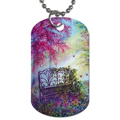 Bench In Spring Forest Dog Tag (two Sides)