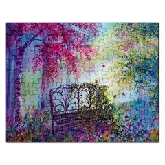 Bench In Spring Forest Rectangular Jigsaw Puzzl