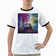 Bench In Spring Forest Ringer T Shirts